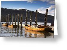 Boats Docked On A Pier, Keswick Greeting Card
