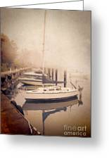 Boats In Foggy Harbor Greeting Card