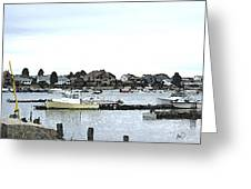 Boats In Harbor Water Greeting Card