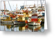 Boats On Santorini Greeting Card