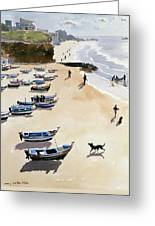 Boats On The Beach Greeting Card by Lucy Willis