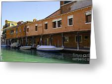 Boats On The Canal - Venice Greeting Card