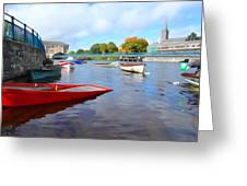 Boats On The Garavogue Greeting Card