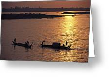 Boats Silhouetted On The Mekong River Greeting Card