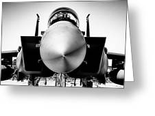Boeing F-15sg Eagle Black And White Greeting Card