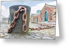 Bollard And Chain Greeting Card
