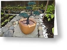 Bonsai Tree Medium Brown Square Planter Greeting Card