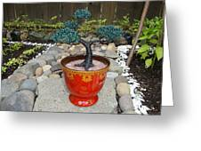 Bonsai Tree Medium Red Glass Vase Planter Greeting Card