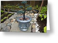 Bonsai Tree Medium Silver Vase Greeting Card