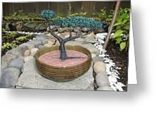 Bonsai Tree Round Brown Planter Greeting Card