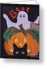 Boo-happy Halloween Greeting Card by Janna Columbus