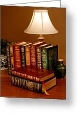 Books Sit On A Desk In A Home Library Greeting Card by O. Louis Mazzatenta