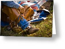 Boots And Quilt On The Trail Greeting Card