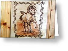 Born To Be Free-sylver  Horse Pyrography Greeting Card