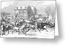 Boston: Sleighing, 1854 Greeting Card