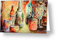 Bottles And Glasses And Mugs 03 Greeting Card