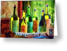 Bottles Of Wine Near Window Greeting Card