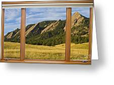 Boulder Colorado Flatirons Window Scenic View Greeting Card