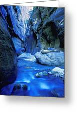 Boulder Filled River At Bottom Of Canyon Greeting Card