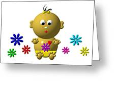 Bouncing Baby Girl With 7 Flowers Greeting Card