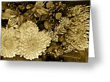Bouquet In Sepia Greeting Card