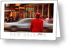 Bourbon Street Man In Red Suit Greeting Card