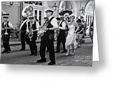 Bourbon Street Second Line Wedding New Orleans In Black And White Greeting Card