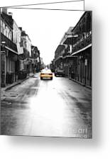 Bourbon Street Taxi French Quarter New Orleans Color Splash Black And White Diffuse Glow Digital Art Greeting Card