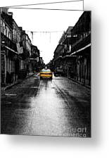 Bourbon Street Taxi French Quarter New Orleans Color Splash Black And White Fresco Digital Art Greeting Card