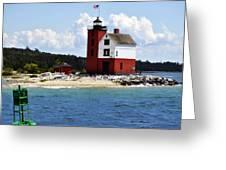 Round Island Light House Michigan Greeting Card