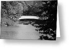 Bow Bridge In Black And White Greeting Card