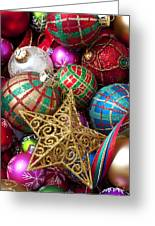 Box Of Christmas Ornaments With Star Greeting Card