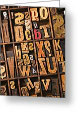 Box Of Old Wooden Type Setting Blocks Greeting Card