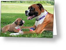 Boxer Mommy And Pup Greeting Card