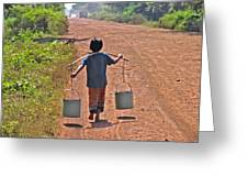 Boy Carrying Drinking Water Greeting Card