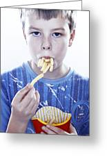 Boy Eating French Fries Greeting Card