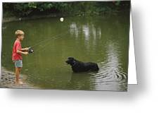 Boy Fishing In A Pond With A Black Greeting Card