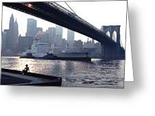 Boy Freighter Brooklyn Bridge Sunset Greeting Card