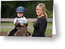 Boy His Horse And Mom Greeting Card