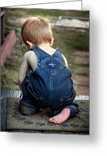 Boy In Overalls Greeting Card