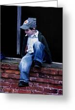 Boy In Window Greeting Card