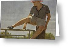 Boy on a fence waiting for Lance Armstrong Greeting Card by Paul Grand