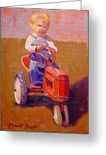 Boy On Tractor Greeting Card