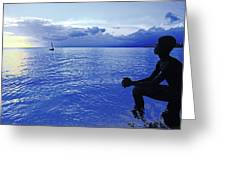 Boy Sitting At Sunset Greeting Card