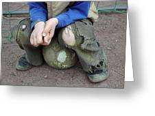 Boy Sitting On Ball - Torn Trousers Greeting Card