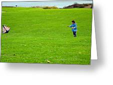 Boy With His Kite Maine Greeting Card