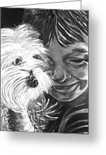Boy With Pet Dog Greeting Card