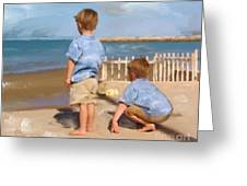 Boys And The Sea Greeting Card