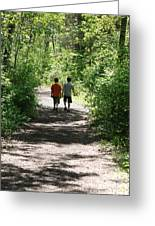Boys Hiking In Woods Greeting Card