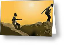 Boys Playing On The Rocks Greeting Card